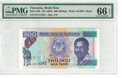 TANZANIA 500 Shilingi 1993 Pick# 26b PMG: 66 EPQ (#1569)