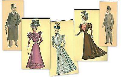 "5 Cut  12"" Paper Dolls Cut From Fashion Plates c1900 3 Women 2 Men"