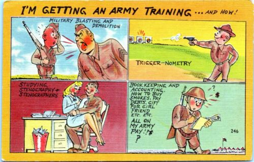 WW2 Army Military Comic Linen Postcard Im Getting an Army Training JP
