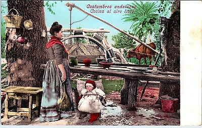 Spain Costume (ANDALUCIA, SPAIN     Andalusian COSTUMES - OUTDOOR KITCHEN   c1910s   )