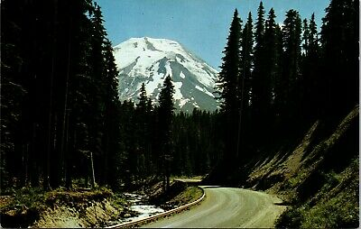 Vintage 1950's Spirit Lake Highway, Mt St Helens, Washington WA Postcard