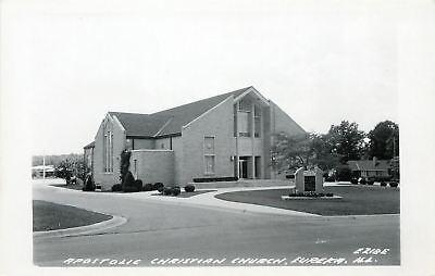 Eureka Illinois~Apostolic Christian Church~Real Photo Postcard 1950s