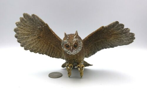 "AAA Vintage Brown OWL WINGS SPREAD Flying Large 8"" Animal Bird Figure"
