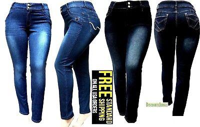 5IVE WOMENS PLUS SIZE Stretch BLACK/BLUE HI WAIST denim jeans SKINNY jean PANTS