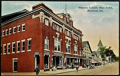 Fraternal, Masons: Masonic Temple, Stores, Main Street, Rockland, ME. Pre-1920.