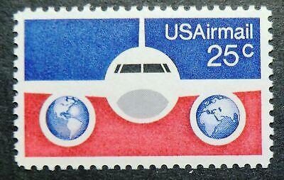 C89 MNH 1976 25c Plane & Globes US postal rate increase for international (Us International Mail Rates)