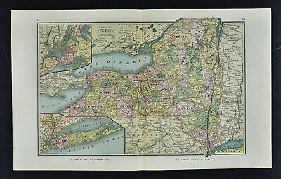 1885 Watson Map - New York - City Manhattan Long Island Niagara Falls Albany NY