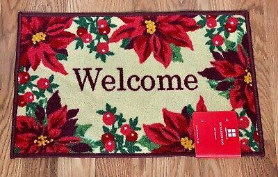 Christmas Holiday Tree Poinsettia Decoration Gloucester Rug Non Skid Door Mat  ()