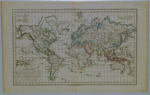 c.1804 Genuine Antique map of the world. Mappe-Monde. De Vaugondy, Delamarche