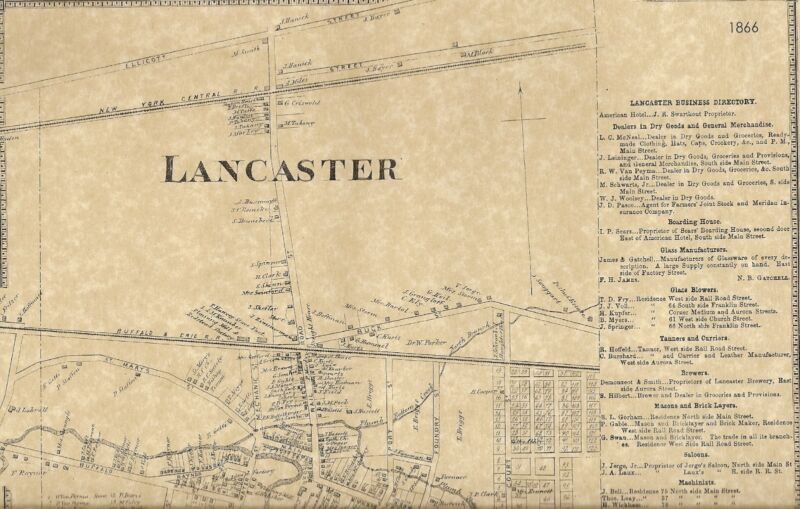 Lancaster NY 1866 Map with Businesses and Homeowners Names Shown
