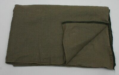 Vintage 1940s Wool blanket green Army? WW2 (O140)