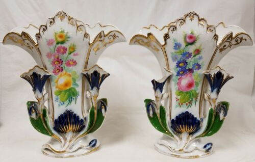 Large Pair Antique Old Paris Floral Vases