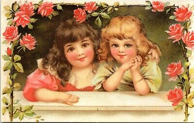 Two Cute Little Girls Surrounded by Roses Reproduction of Vintage Postcard