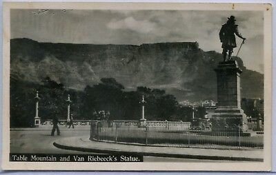 South Africa Cape Town Table Mountain Van Riebeeck's Statue real phoro postcard