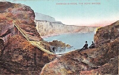 COUNTY ANTRIM IRELAND~CARRICK-A-REDE~ROPE BRIDGE POSTCARD (Carrick A Rede Rope Bridge County Antrim)
