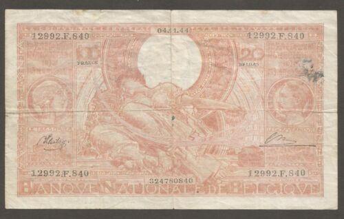 Belgium 100 Francs 4.11.1944; F; P-113; L-B561a;Queen & King;Allegorical figures