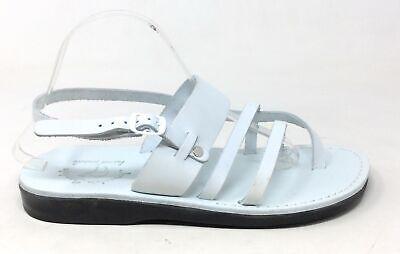 Jerusalem Sandals Mens Cana Flat Slingback Sandal White 43 EU / 10 US
