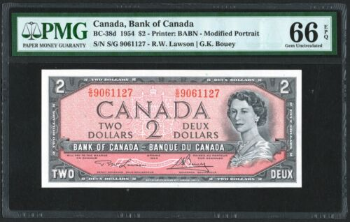 1954 Bank of Canada $2 Banknote, PMG UNC-66 EPQ