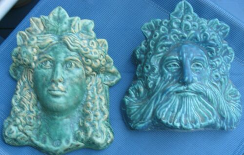 Neptune & Queen - Pair of Ceramic Wall Pockets for the Ocean Lover