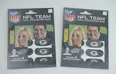 Lot of (2) Green Bay Packers Team Logo NFL Eye Black Strips (6 Each)