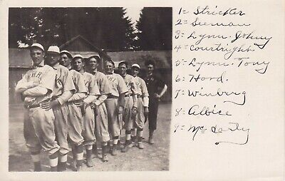 OLD VINTAGE BASEBALL TEAM REAL PHOTO POSTCARD IN UNIFORM NAMED PLAYERS W W H I