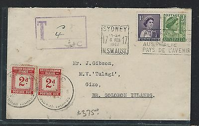 BRITISH SOLOMON ISLANDS (P1910B) 1962 POSTAGE DUE 2DX2 INCOMING COVER FROM AUSTR