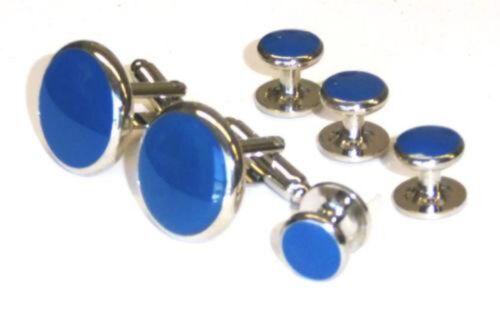 Medium Blue Tuxedo Studs and Cufflinks Set