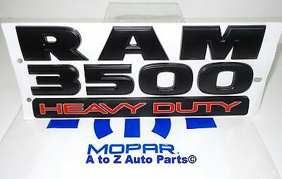 "2015-2018 Dodge Ram 3500 ""Ram 3500 Heavy Duty"" Flat Black Nameplate / Emblem,OEM"