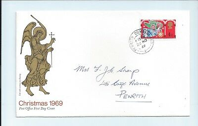 GB First Day Cover FDC Christmas 4d 1969 Penrith Cumberland Postmark Weihnachten