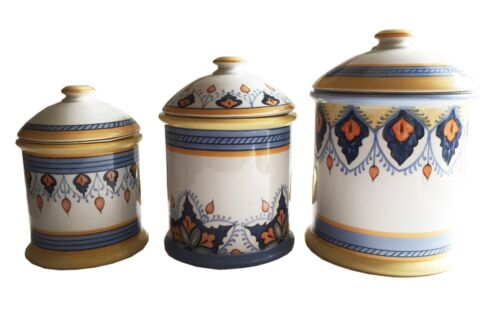 Set of 3 Graduated Hand-Painted Porcelain Canisters Made in Portugal