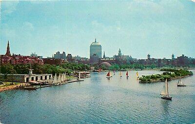 Boat House Charles River Boston Massachusetts sail boats Harvard Tech Postcard