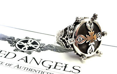 Women's Silver Cross Fashion Ring With White Diamonds  By Sacred Angels