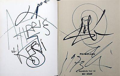 Salvador Dali 1904-1989: Zeichnung + Autograph zweiseitig im Buch 1973 !UNIKAT !