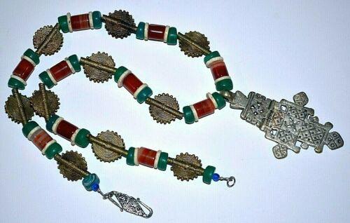 Ethiopian Coptic Cross Necklace Carnelian, Antique Czech & African Metal Beads