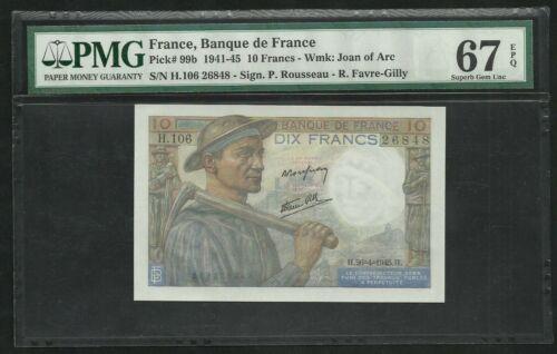 France : 10 Francs Mineur (26-4-1945) ; PMG : Superb Gem UNC 67 ; EPQ