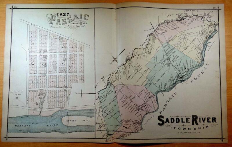 Rare 1876 Map SADDLE RIVER TWP. East Passaic NJ New Jersey ORIGINAL