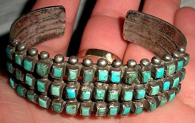c 1930 RARE 3 ROW ZUNI SILVER BRACELET SQUARE TURQUOISE STAMPED OLD PAWN vafo