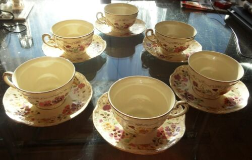 Zsolnay Hungary Fine Porcelain Tea Cups and Saucers BUTTERFLY Pattern