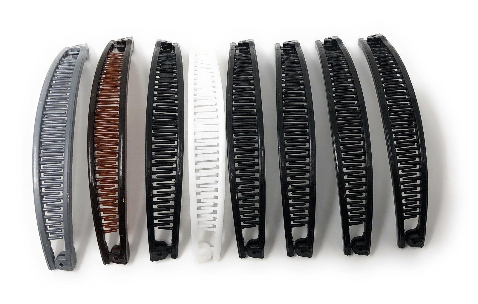 "8 PCS BANANA HAIR CLIPS PONYTAIL CLAW COMBS THE COLOR  6""."