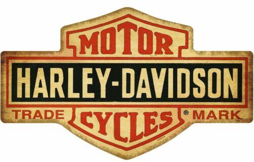 HARLEY DAVIDSON SHIELD SHAPED LOGO HEAVY DUTY USA MADE METAL ADVERTISING SIGN