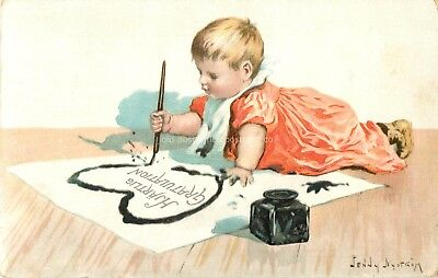 Jenny Nystrom-Artist Signed Postcard-Child Making Heart with Ink Pen & Fountain