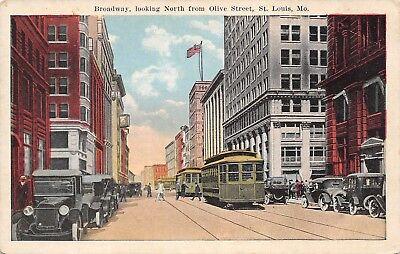 Olive Trolley - St Louis Missouri~Broadway North @ Olive Street~Trolleys~Boatman Bank~1916 PC