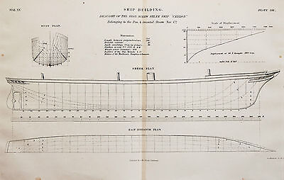 Antique 1850s Nautical Maritime Folding Print, Plan, Drawing - Steam Ship Ceylon