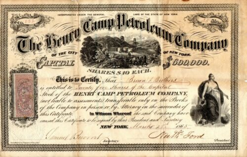 A Scarce 1865 The Henry Camp Petroleum Company of New York Stock Certificate VF-