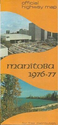 1976 MANITOBA Official Highway Road Map Winnipeg Selkirk Flin Flon Canada