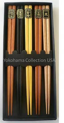 5 Pairs Set Japanese Natural Wood Color Wooden Chopsticks Hair Sticks Gift Box