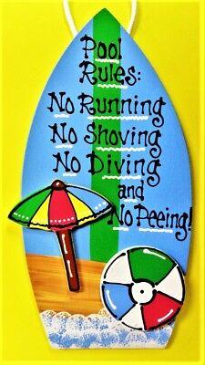 POOL RULES SURFBOARD SIGN Tropical Deck Tiki Beach Hot Tub Surf Art Plaque Decor - Surfboard Decoration