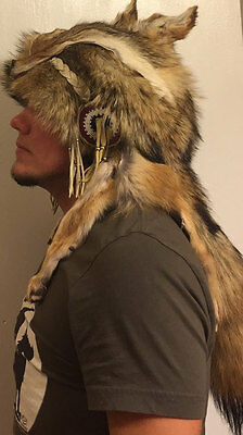 Coyote Headdress Native American Beadwork Mountain Man coonskin hat rendezvous