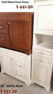 PROMO SALE ! SOLID WOOD BATHROOM VANITY / CABINET - FLOOR MODELS - HIGH QUALITY - ROYALWOOD and ANTIQUE WHITE