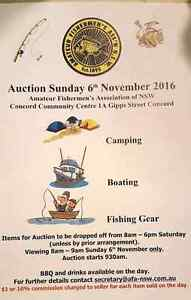 FISHING ,BOATING,CAMPING ,TACKLE AUCTION  6/Nov/2016 Concord Canada Bay Area Preview